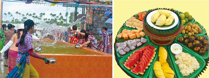 [左圖]泰國風情園內的潑水節大快人心。[右圖]水果風情園的水果讓您享用不盡