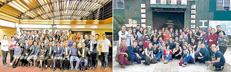 [左]嘉義縣旅遊局宴請、[右]考察台南十鼓文化園區