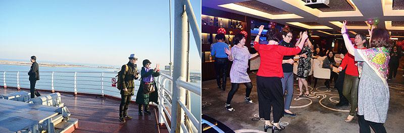 [左]船頭甲板望向海的自然風光動人、[右]歡迎晚宴現場氣氛熱絡