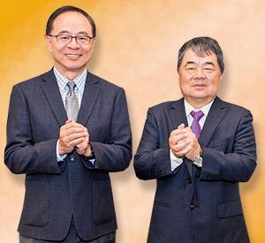 董事長許順富(右)、執行長謝宏明恭賀同業新年好